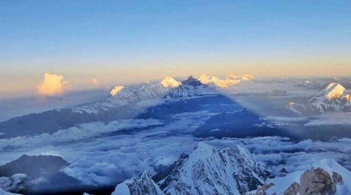 Sunrise from the top of Manaslu (26,759 ft)