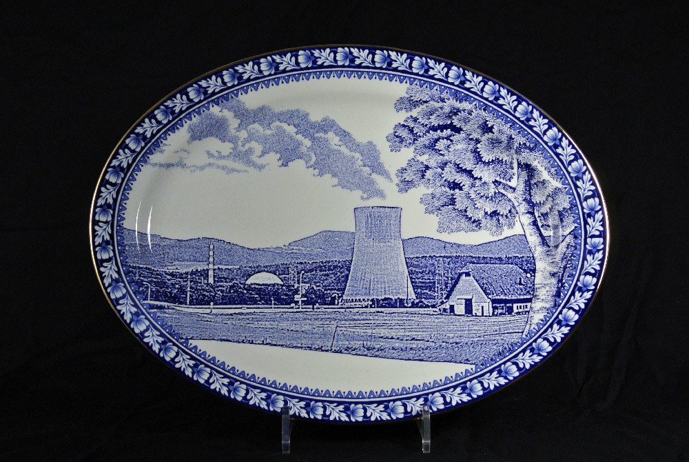 Scott's Cumbrian Blue(s) Gösgen No:1. Inglaze decal collage and gold lustre on old earthenware plate (c.1930) marked marked Reliable, Phoenix, Burslem. 40cm x 30cm