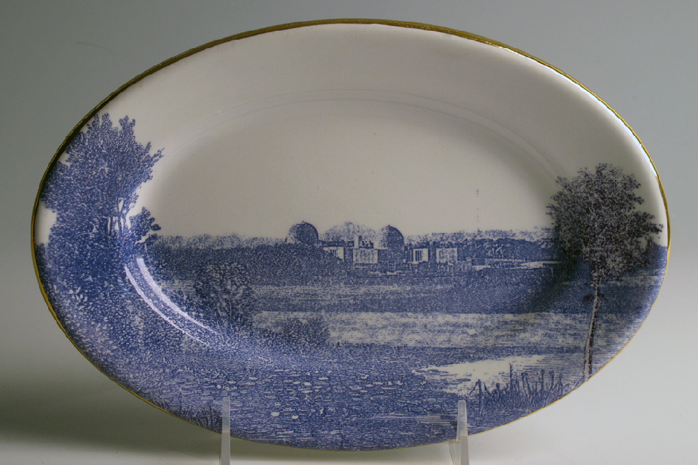 Scott's Cumbrian Blue(s), American Scenery, (Hudson River) Indian Point. Screen print (in-glaze decal) and gold on ironstone platter c. 1860. Paul Scott, Clay Studio, Philadelphia 2013.