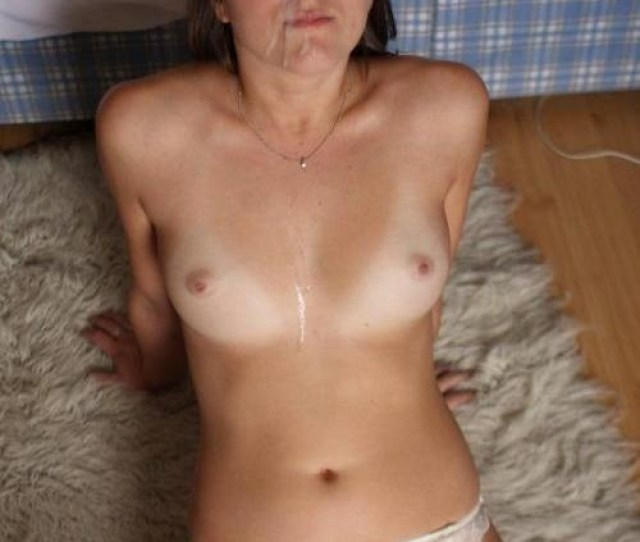 Chick Takes Cum All Over Her Body Laying Down