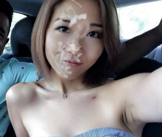 Very Cute Asian Babe In Car With Facial