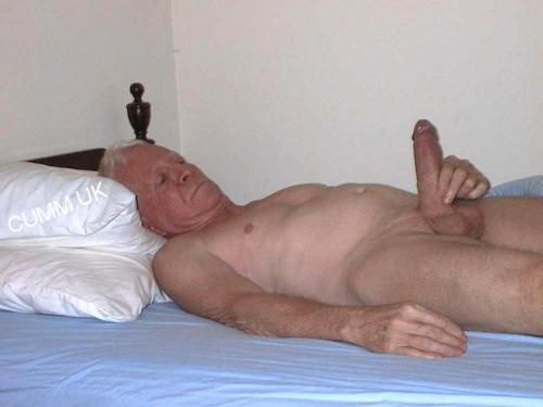 old man big cock wanking in bed