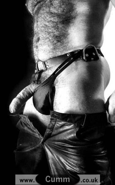 leather daddy cok in thong