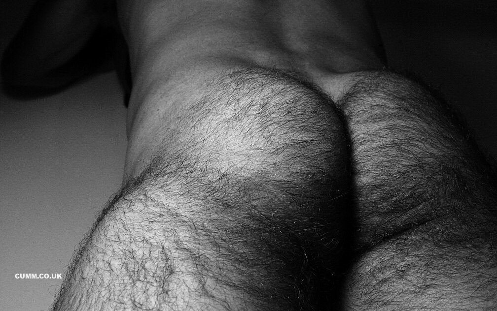 hairy arse black and white