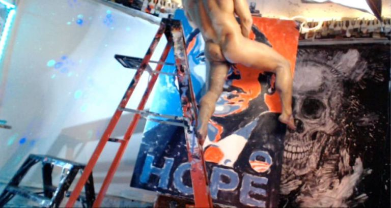 Artist used his huge penis to paint a portrait of Obama