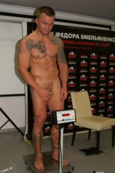 Czech MMA fighter Tomas Kuzelanaked weighs in fully nude