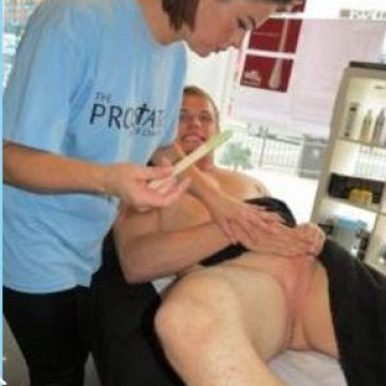 TOM BURGESS GETS HIS BALLS WAXED FOR CHARITY 2