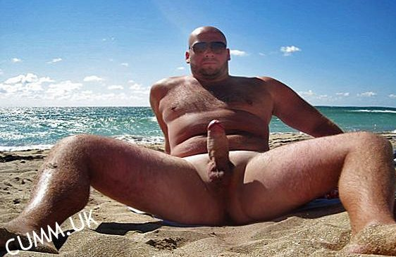 big beach cock erection in public