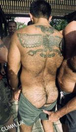hairy arse inked man