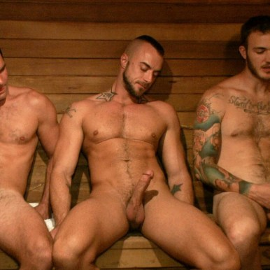 sauna men wanking