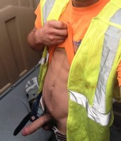 sexy builder shows his cock