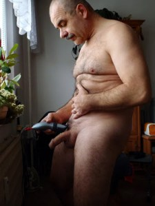 silver daddy shaving his cock
