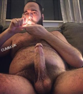 mature dad smoking and stroking big dicked daddy