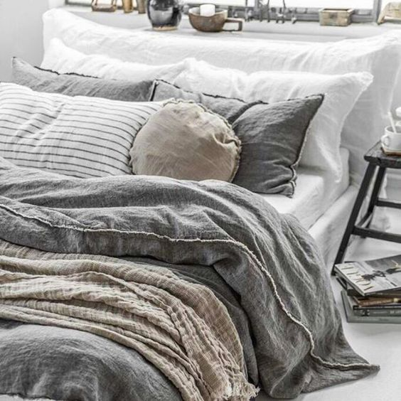 comfy boho bed with gray bedding