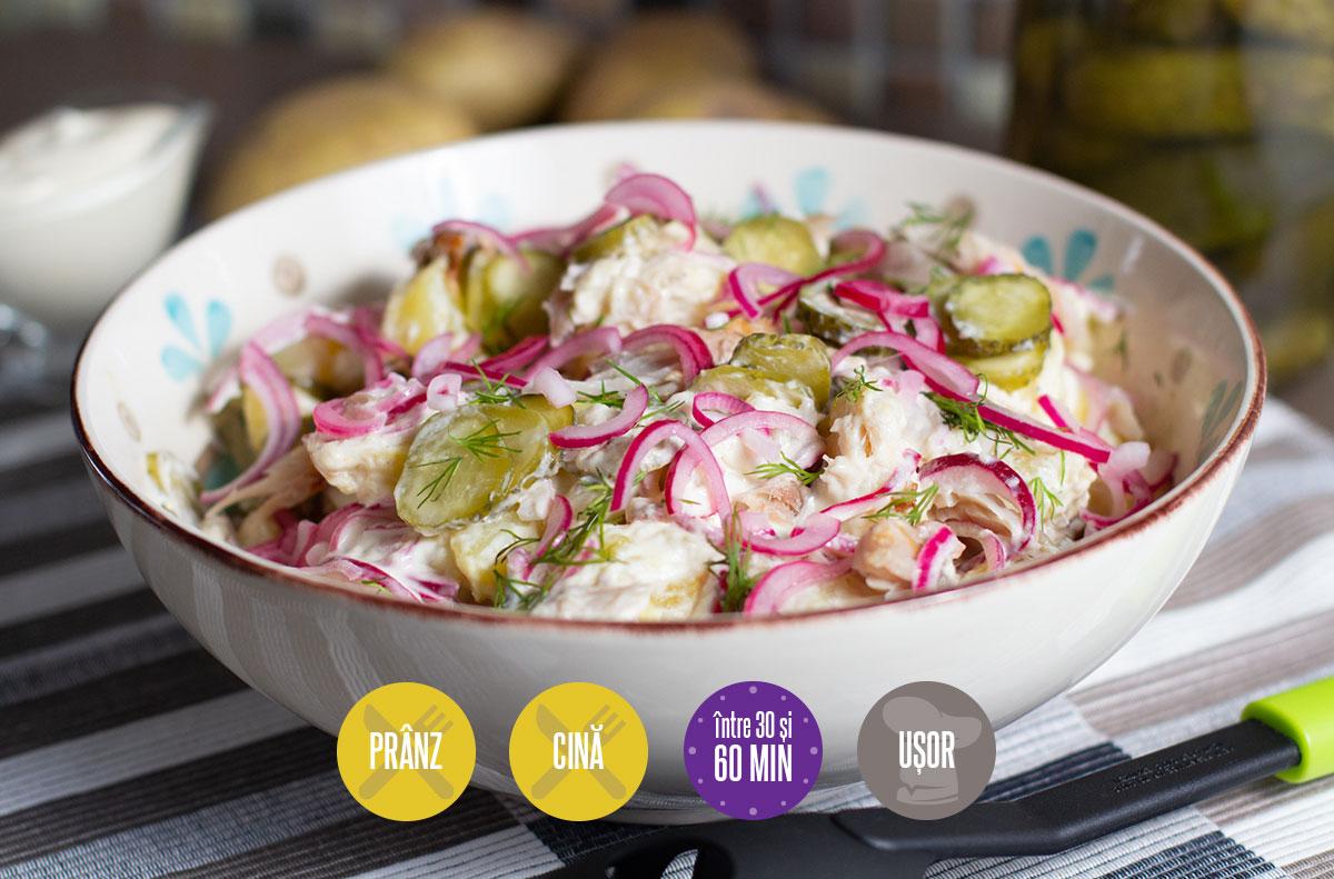salată de cartofi cu pește afumat