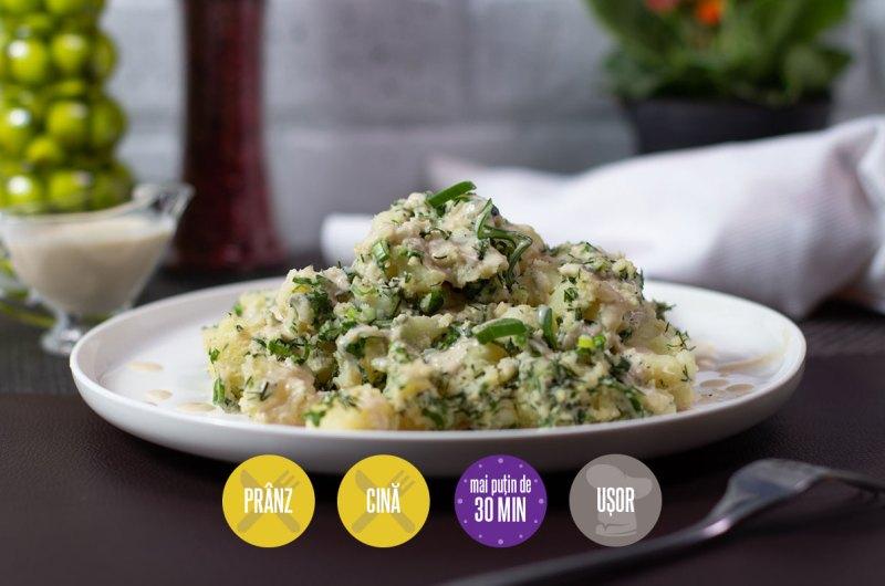 salată de cartofi cu leurdă