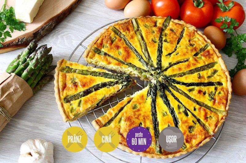 tartă cu brânză și sparanghel
