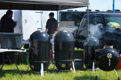 Getting a view of the Fat Baby BBQ's setup.