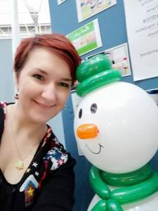 Catherine and snowman