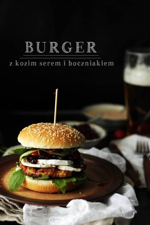 burger z kozim serem i boczniakiem (na blog)