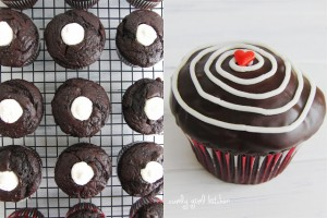 chocolate cupcakes and cream filling ganache