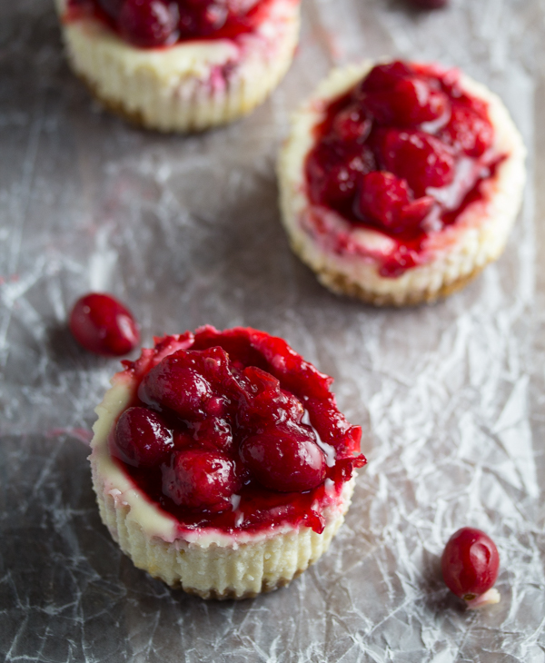 Cranberry Sauce Mini Cheesecakes