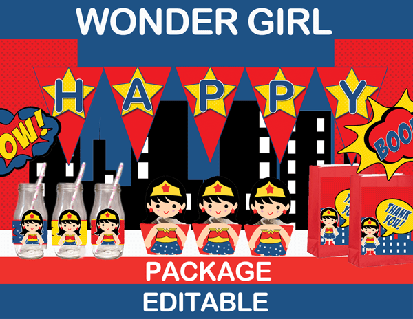 Wonder Girl Superhero Party Package INSTANT DOWNLOAD