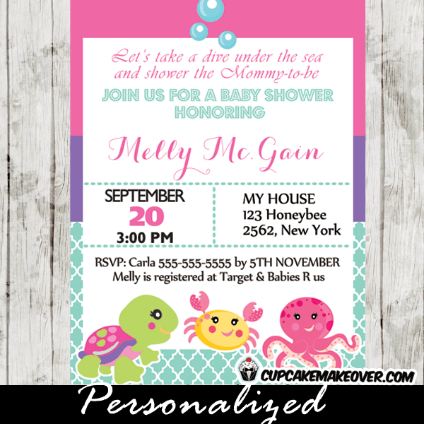 Under The Sea Baby Shower Invitation Card For S