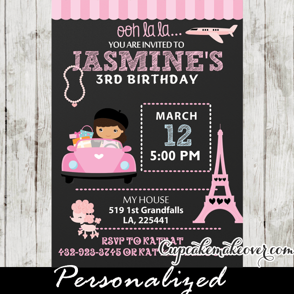 Poodle In Paris Birthday Party Invitation Card