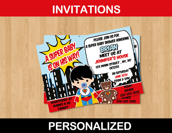 Superhero Baby Shower Invitation Card Personalized