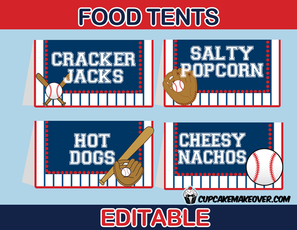 Baseball Food Labels Editable Tent Cards INSTANT