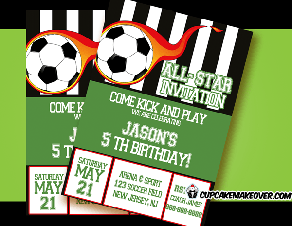 Soccer Party Invitation For Boys Personalized