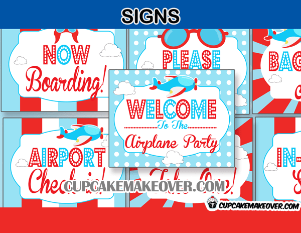 Airplane Birthday Party Printable Package Instant