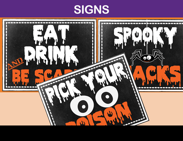 Halloween Party Signs Printable and Editable Instant