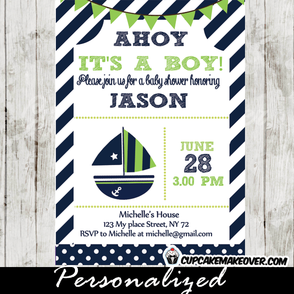 Green And Blue Nautical Baby Shower Package Instant