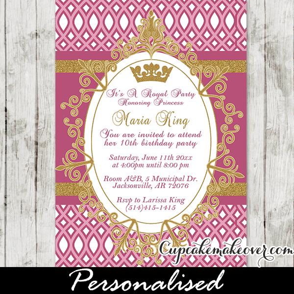 Royal Princess Party Invitation Fuchsia Personalized