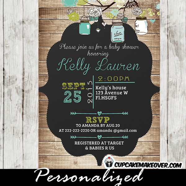 Blue Green Country Rustic Mason Jar Baby Shower Invitations