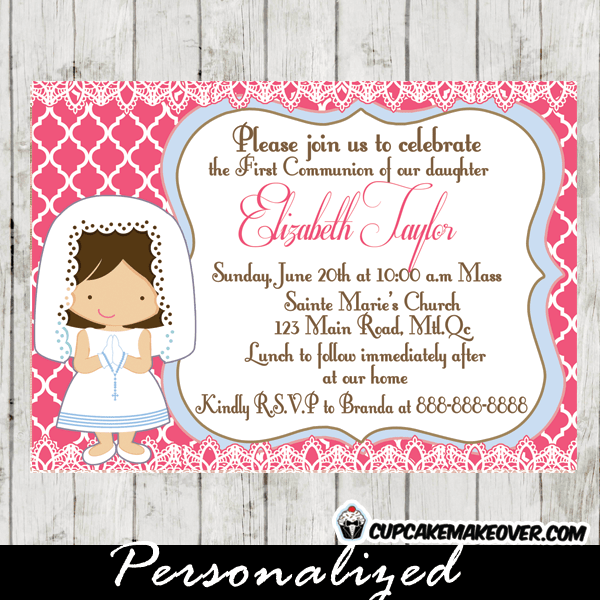 First Communion Invitation For Girls D4 Personalized