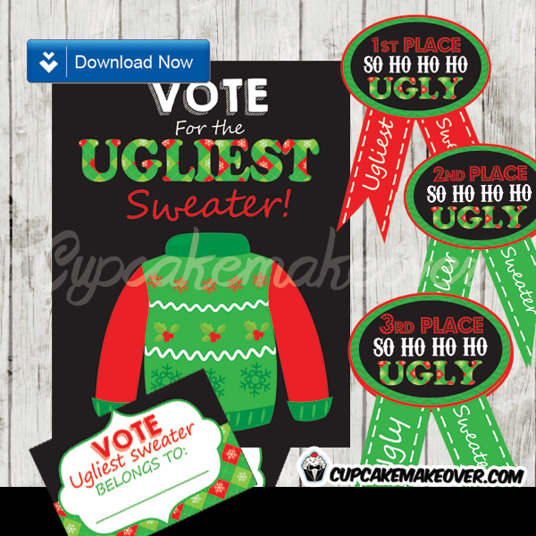 Ugly Sweater Award Ribbons Voting Ballots Amp Chalkboard