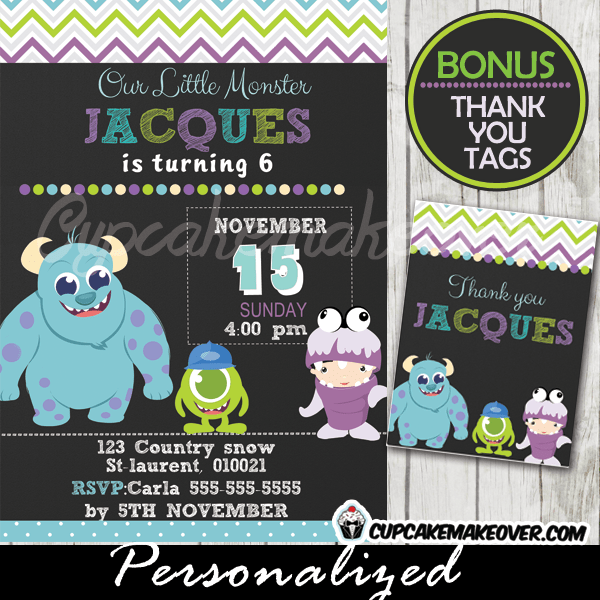 Monsters Inc Birthday Invitation Card Boys Personalized