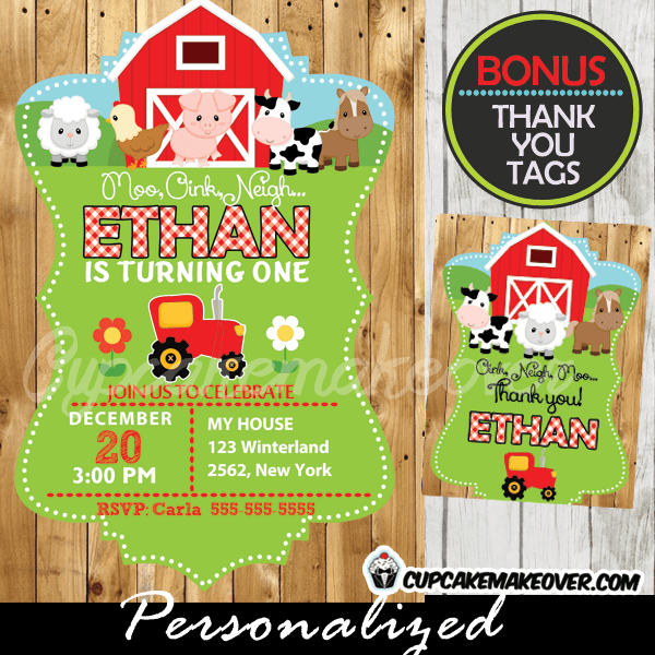 barnyard birthday invitation barn wood