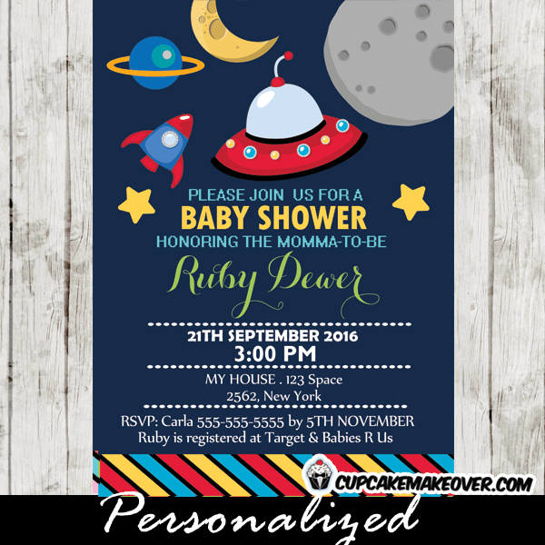 Rocket Ship Baby Shower Invitation Personalized D3