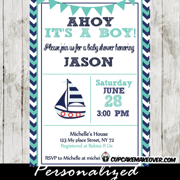 Navy And Turquoise Nautical Baby Shower Invitation