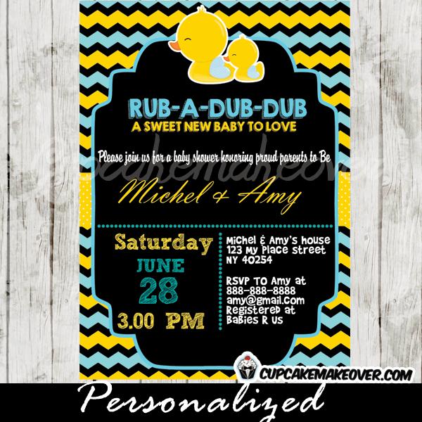 Chalkboard Yellow Blue Rubber Duck Baby Shower Invitation