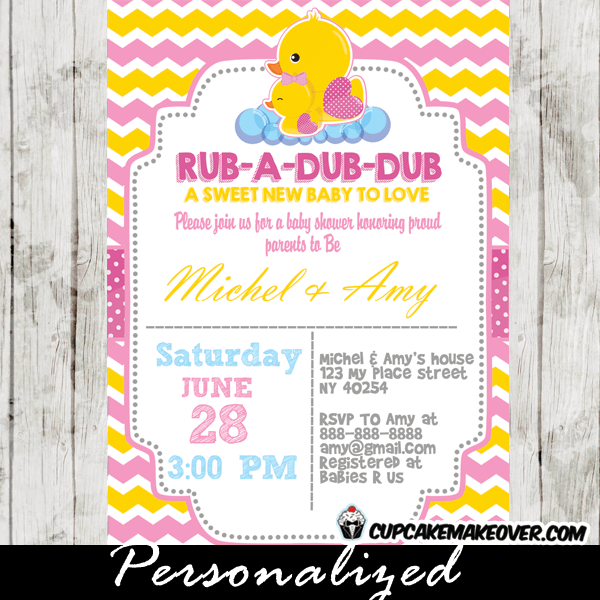Yellow Pink Rubber Ducky Baby Shower Invitation