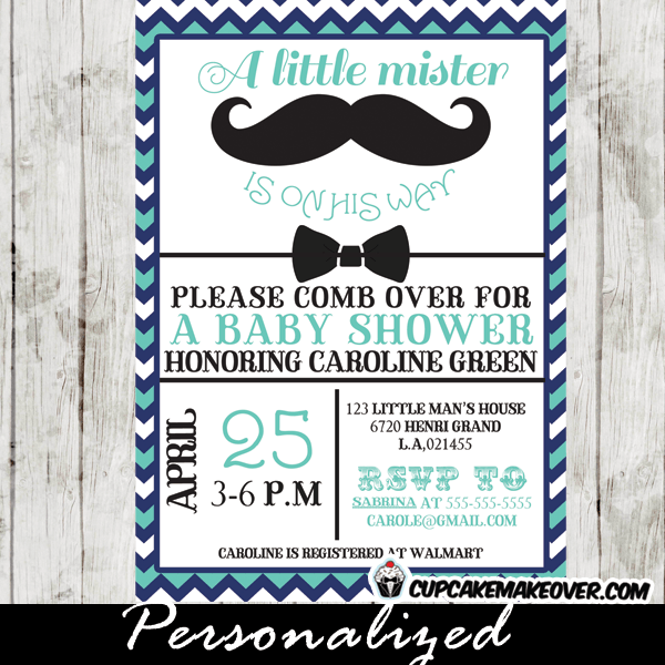 Chevron Blue Mustache And Bow Tie Baby Shower Party Package Instant Cupcakemakeover