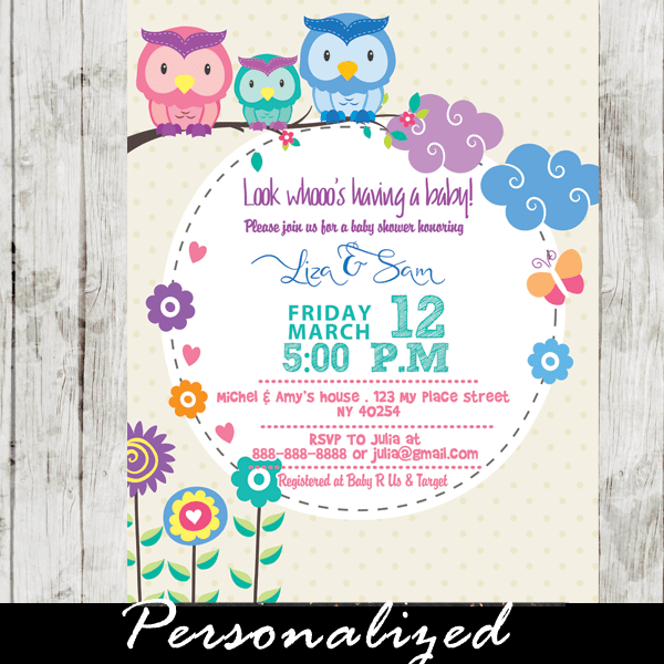 Owl S Baby Shower Invitations Whimsical Nature
