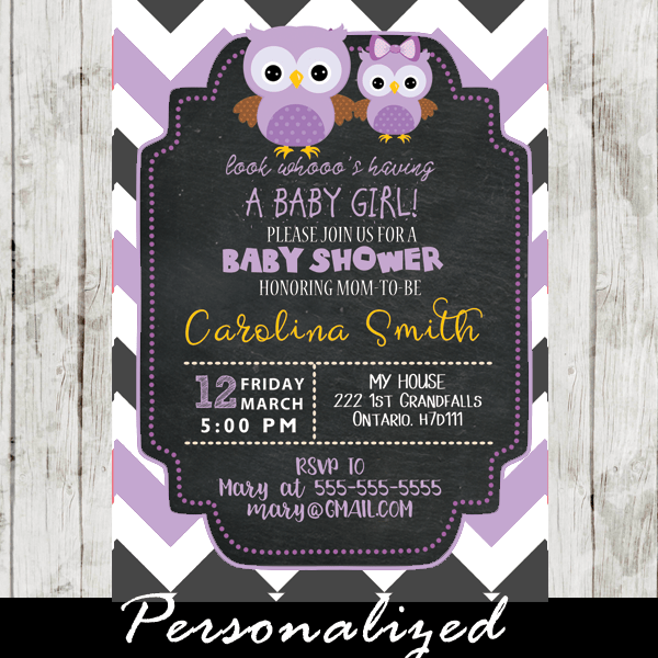 Gray And Purple Chevron Owl Baby Shower