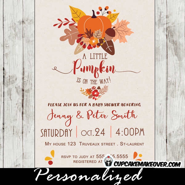 Fall Themed Pumpkin Baby Shower Invitations Personalized