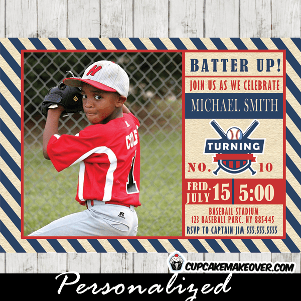 baseball photo birthday invitations